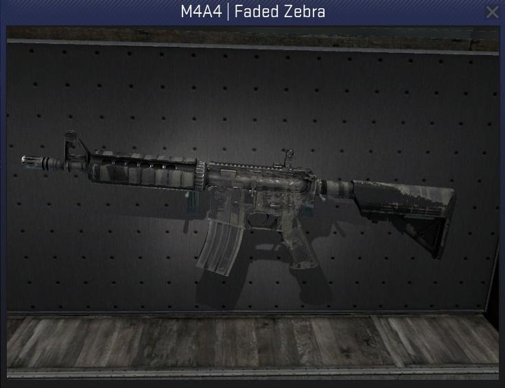 m4a4 faded zebra well-worn