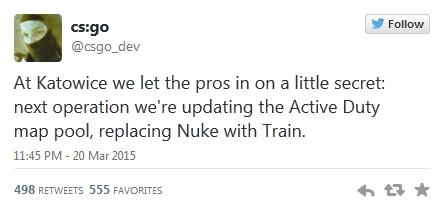 Nuke заменят на Train в активном пуле - твиттер Valve