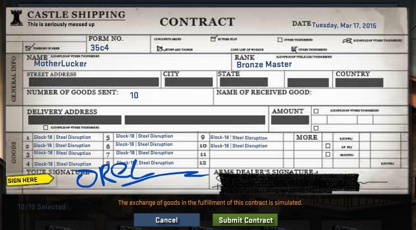Симулятор контракта обмена cs go