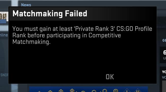 Запрет соревновательных игр до 3 ранга cs:go